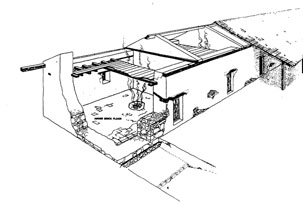 Cutaway perspective of Mission Adobe