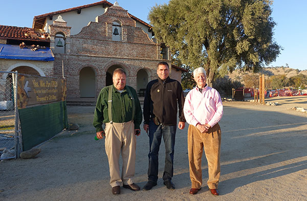 At Mission San Antonio de Padua during a recent site visit, CMF Board member Dr. Robert Hoover (left), Mr. John Jenkins of the Field Foundation (right), and CMF Executive Director David A. Bolton.