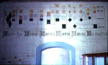 Musical notation on wall above a door at Mission San Antonio