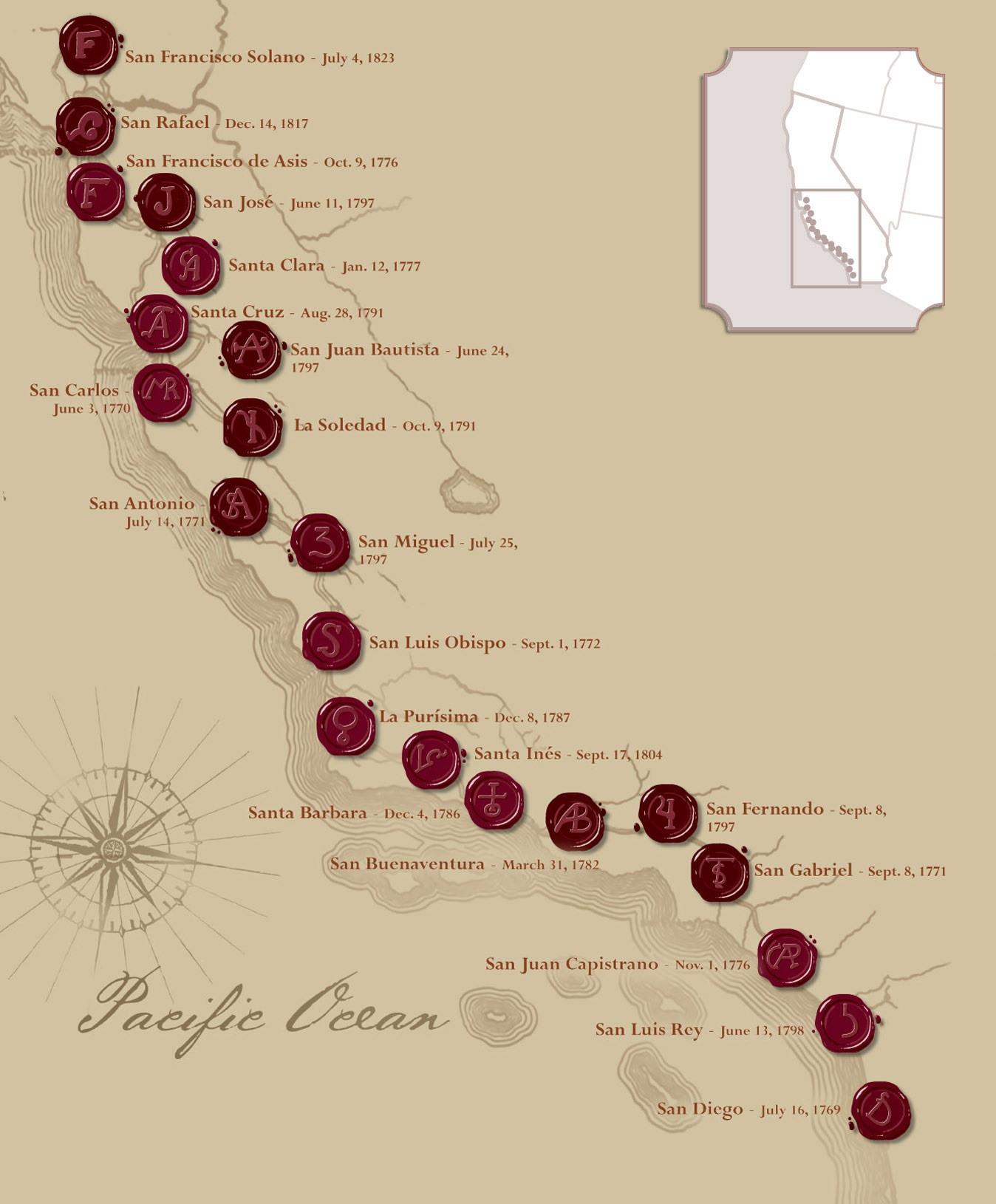 Map Of California Missions The California Missions   California Missions Foundation