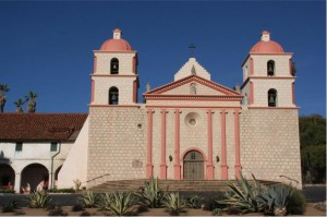 Restored_facade_at_Mission_Santa_Barbara
