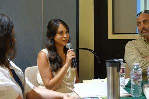 CMF board member Olivia Chilcote addresses the ECR gathering.