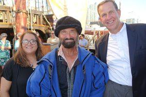 Julianne Polanco, California SHPO, And Dr. Steve Boilard (right) join a San Salvador re-enactment actor on board.