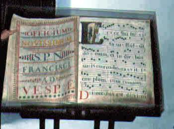 An illuminated music manuscript at Santa Barbara Mission Archives-Library