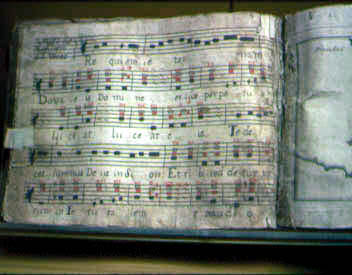 Vellum music manuscript at Santa Barbara Mission Archives-Library