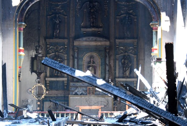 The inside of the church after a four-alarm fire tore through the church at Mission San Gabriel destroying the inside of the 245-year-old building in San Gabriel on Saturday, July 11, 2020. (Photo by Keith Birmingham, Pasadena Star-News/ SCNG)
