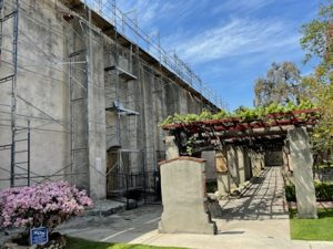A recent picture inside Mission San Gabriel as roof repairs continue